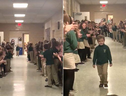 Sorfallal köszöntötték osztálytársai a rákot legyőző kisfiút